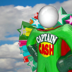 Captain Cash Super Hero Fights for Lower Prices to Save Money