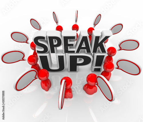 Speak Up Speech Bubble People Talking in Group