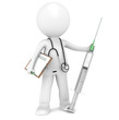 3D little human character The Doctor with a Syringe.