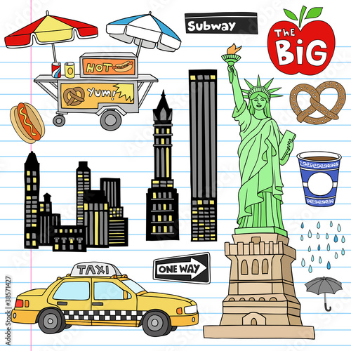 New York City Manhattan Notebook Doodles Vector
