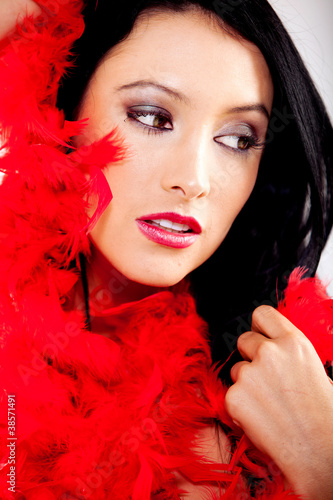 Woman with feather boa