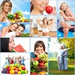 Happy healthy people collage.