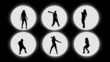 6 silhouettes dancing. Backlight.