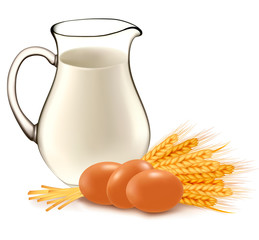 Glass jug with milk, wheat seeds and eggs.