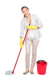 Cleaning woman washing floor mop - 38574265