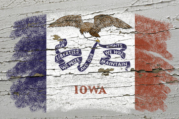 flag of US state of iowa on grunge wooden texture precise painte