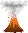 Smoking, erupting volcano icon isolated on white