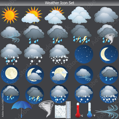 Cool Weather vector Icon set on grey background