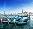 Gondolas on Grand Canal and San Giorgio Maggiore church in Venic