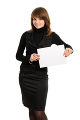 woman holding empty white board