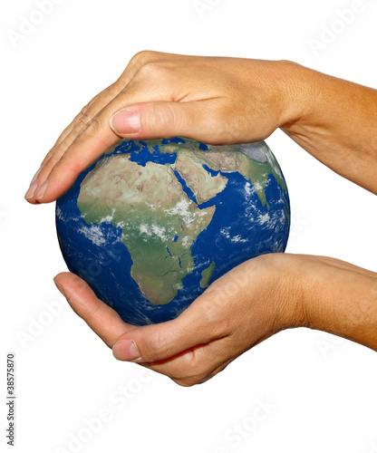 Earth in hand, isolated on white background