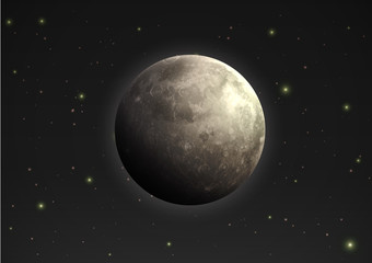 realistic moon in the night sky