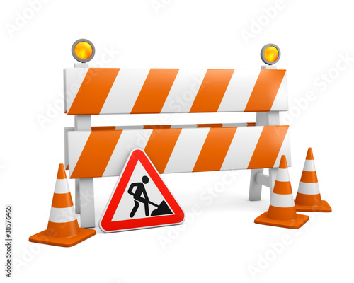 Barrier with cones and road works sign