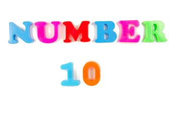 number 10 written in fridge magnets