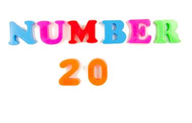 number 20 written in fridge magnets