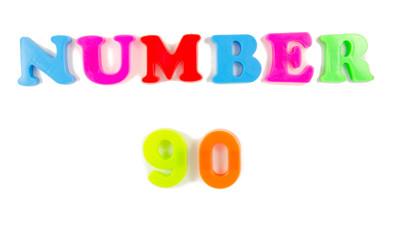 number 90 written in fridge magnets