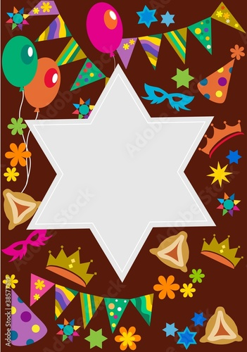 Purim background with davis star ; vector illustration