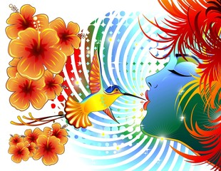 Colibri Bacio Ragazza-Girl Kiss Hummingbird Colors-Vector