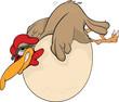 Hen and the big egg. Cartoon