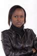 Young South African woman wearing black leather
