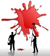Werbefläche Gestaltung - roter Klecks