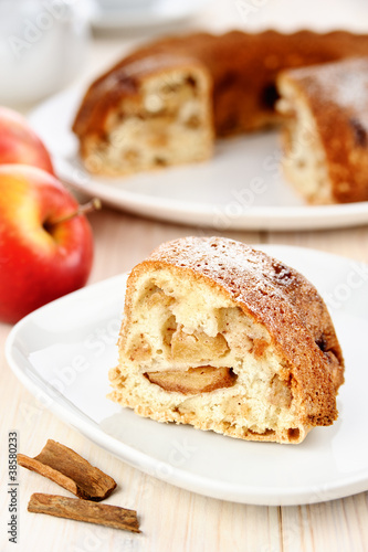 Piece of apple pie with cinnamon