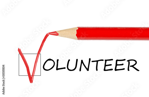 Volunteer message and red pencil