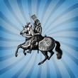 Engraving vintage knight tournament.