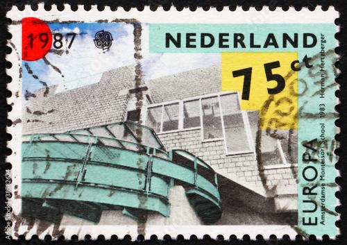 Postage stamp Netherlands 1987 Montessori School, Amsterdam