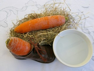 Carroits hay and water for the horse of Sinterklaas
