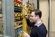 Network engineer jumpering fibre optic