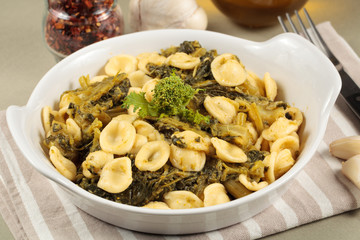 Orecchiette pasta with turnip tops