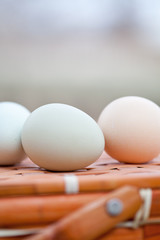 Organic Eggs Sitting on Basket