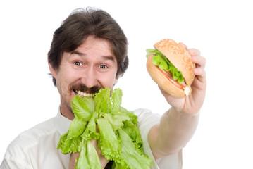 Man prefers salad instead of hamburger