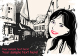 fashion girl in sketch style on a  Scandinavian city-background. poster