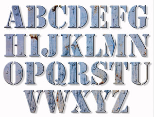 Alphabet métallique grunge