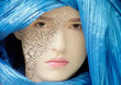 Young Woman with Dry Skin and Blue Veil