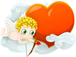 cupid with heart. clipping path included