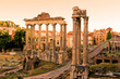 View over the ruins of the Roman Forum at sunset