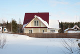 traditional russian dacha, winter