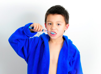 Boy Brushing Front Teeth