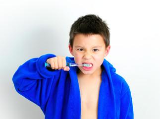 Boy Brushing Teeth Facial Expression