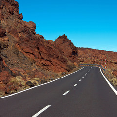 road in the frozen lava in the crater