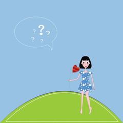 vector illustration girl and  heart against a blue sky