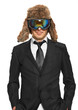 Man in ski goggles and black suit