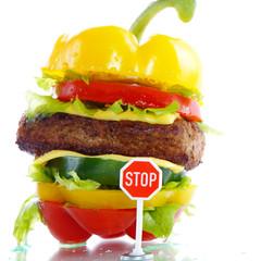 Gemüse Burger mit Hackfleisch, Stop Schild