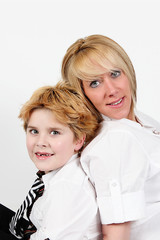 Cute little boy and mother
