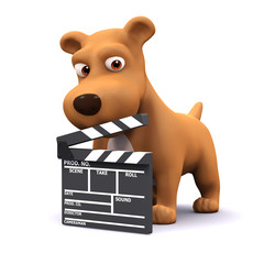 3d Dog operates the clapper board on the film set