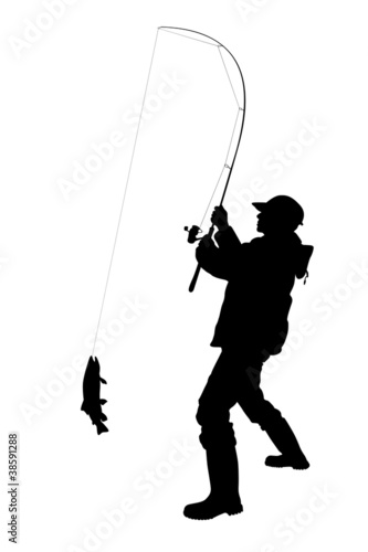 fisherman catching a fish