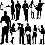 Fototapety waiters and waitresses silhouette collection - vector